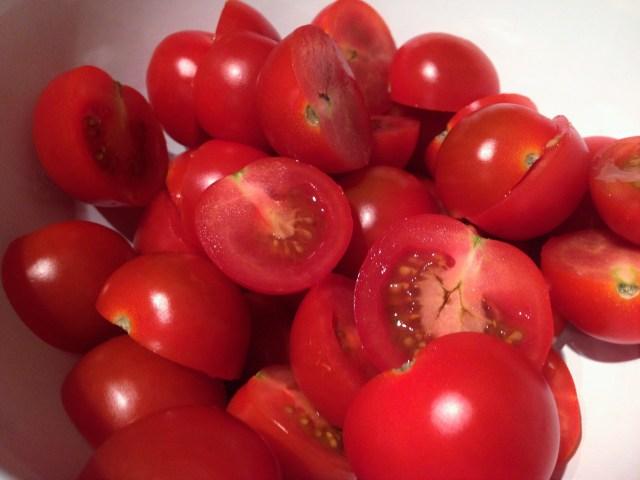Cut Cherry Toms in Half