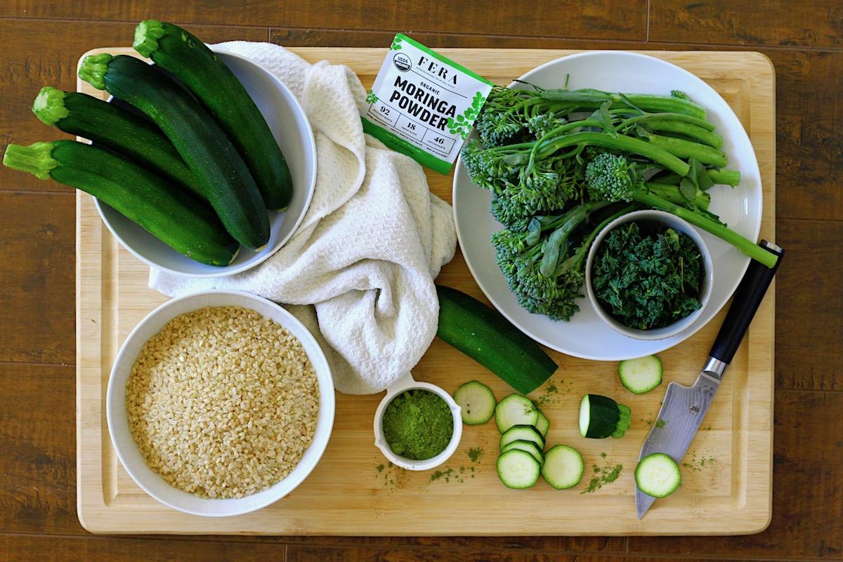 Mushroom Brown Rice Risotto with Moringa