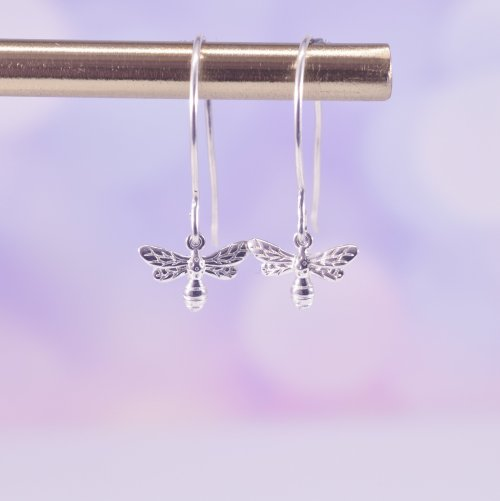 Handmade Sterling Silver Bumble Bee Drop Earrings