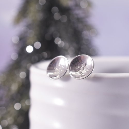 Handmade Sterling Silver Snowflake Stud Earrings