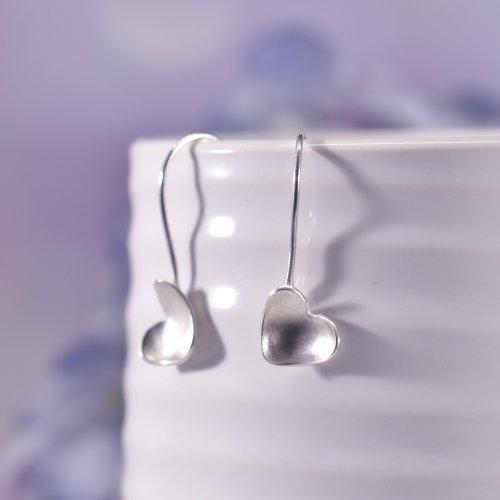 Handmade Sterling Silver Satin Heart Drop Earrings