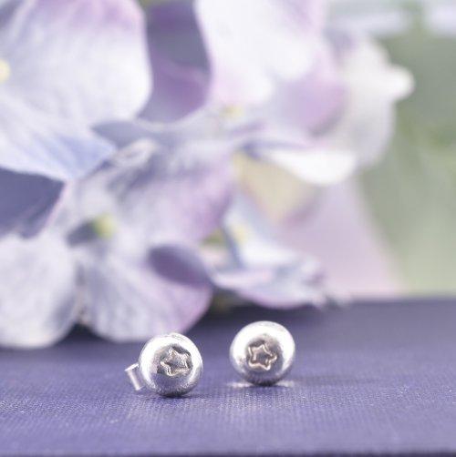 Handmade Recycled Sterling Silver Star Nugget Stud Earrings