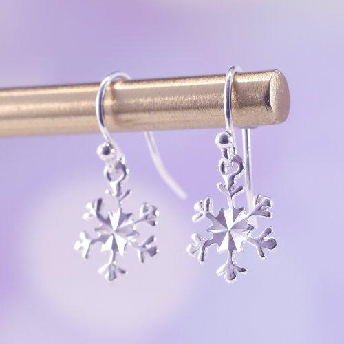 Handmade Sterling Silver Snowflake Drop Earrings