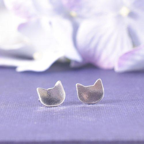 Handmade Sterling Silver Cat Face Stud Earrings