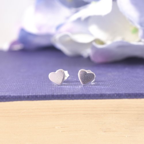 Sterling Silver Little Heart Stud Earrings