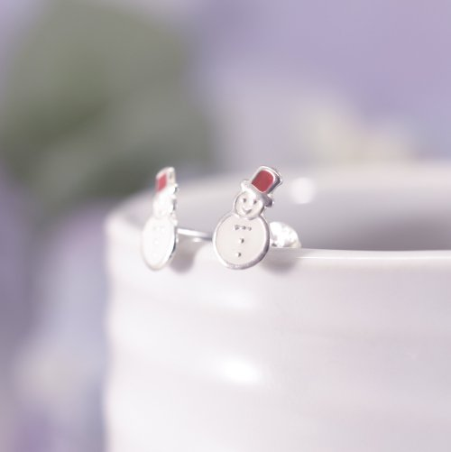Sterling Silver Enamel Christmas Snowman Stud Earrings