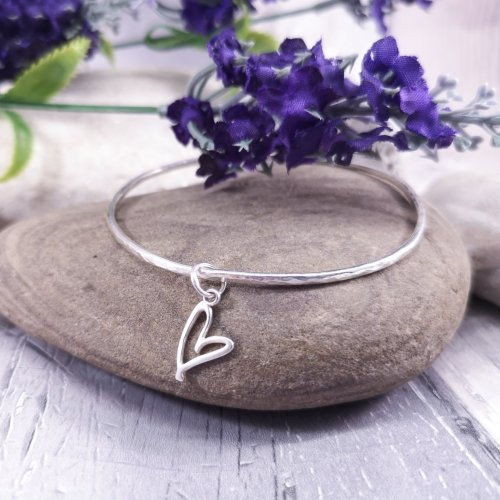 Handmade Sterling Silver Quirky Heart Bangle