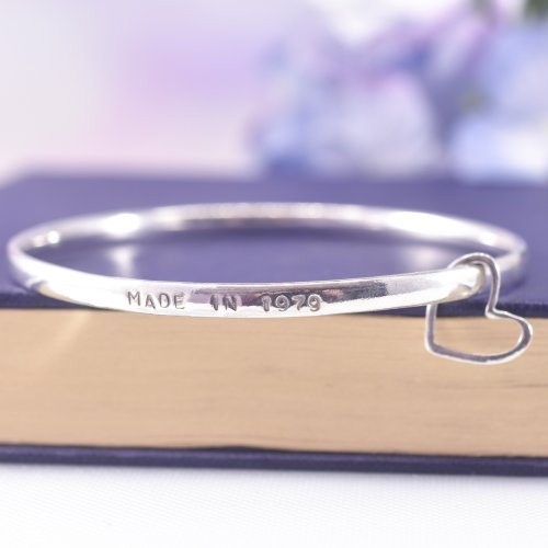 Sterling Silver Personalised Story Bangle