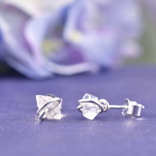 Handmade Sterling Silver Herkimer Diamond Stud Earrings