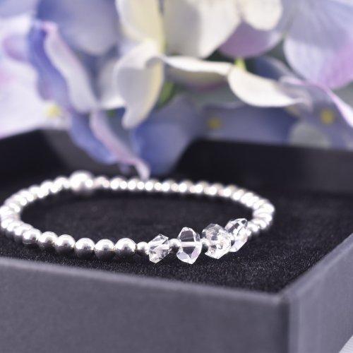 Handmade Sterling Silver Herkimer Diamond Bracelet
