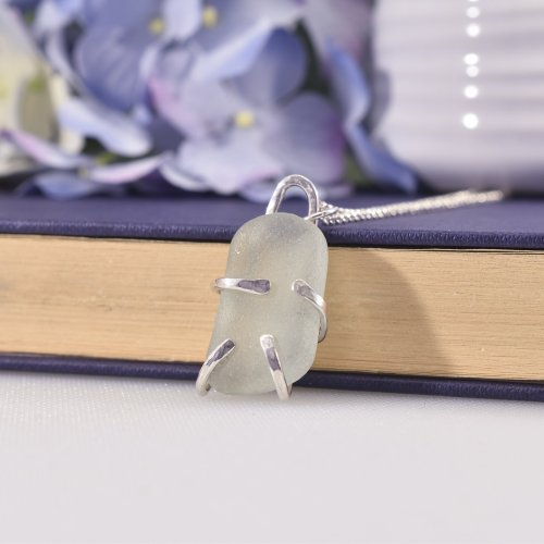 Handmade Sterling Silver Sea Glass Hug Necklace