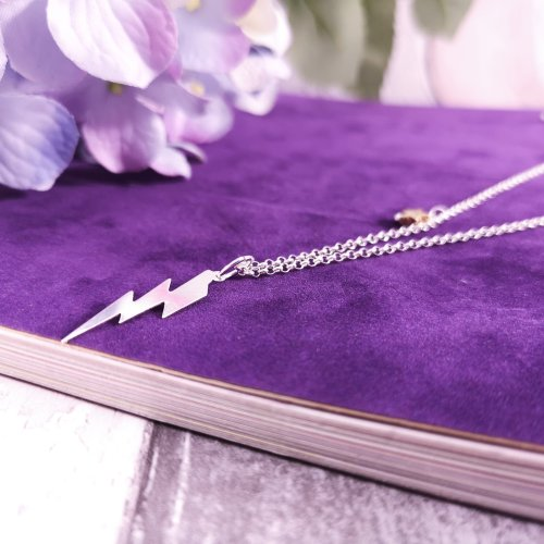 Handmade Sterling Silver Lightning Bolt Necklace