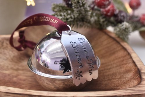 Handmade Large Silver Christmas Believe Bell Decoration