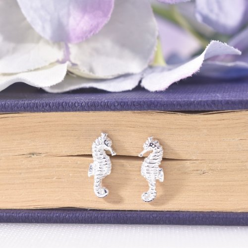 Sterling Silver Seahorse Stud Earrings