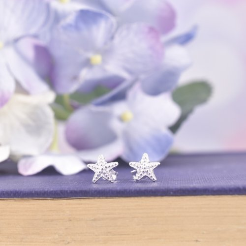 Sterling Silver Chubby Starfish Stud Earrings