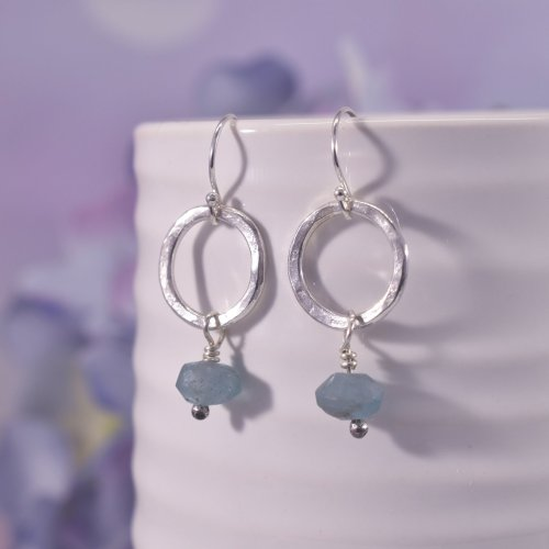 Handmade Sterling Silver Apatite Circle Earrings