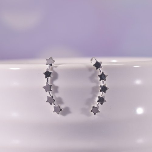 Sterling Silver Lyra Star Ear Climber Earrings