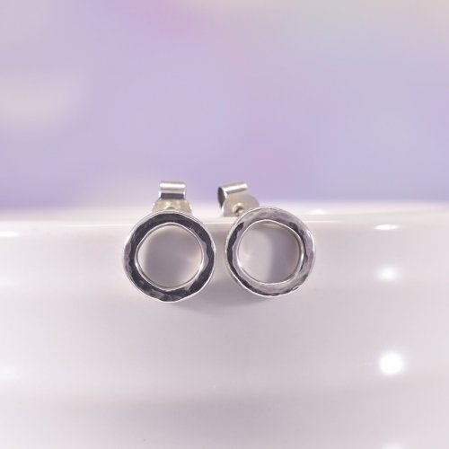 Handmade Sterling Silver Little O Stud Earrings