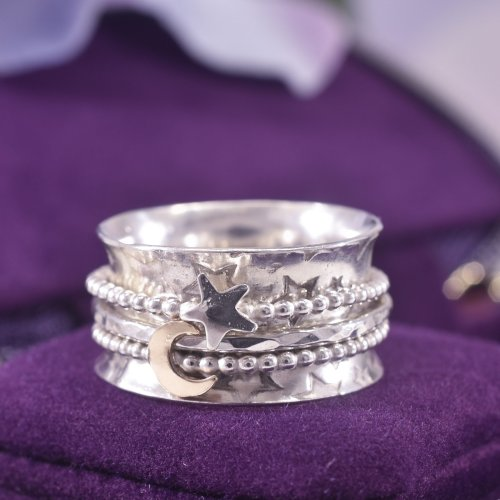 Handmade Sterling Silver Galaxy Spinner Ring