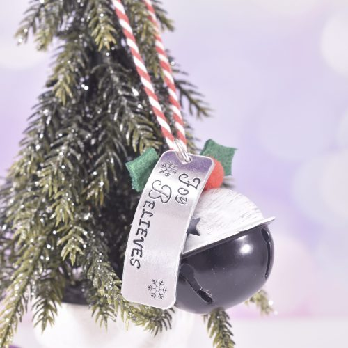 Handmade Pudding Christmas Believe Bell Decoration