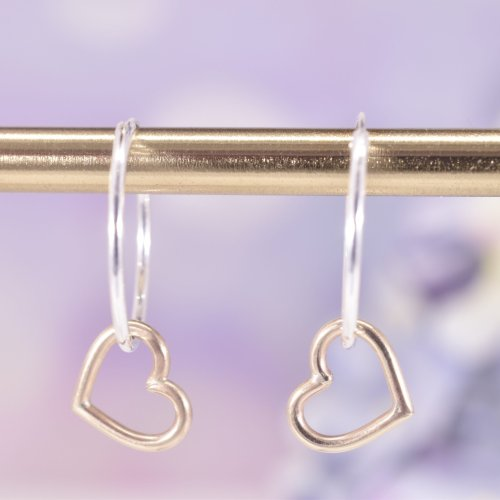 Handmade Gold Heart Entwined Maxi Hoop Earrings