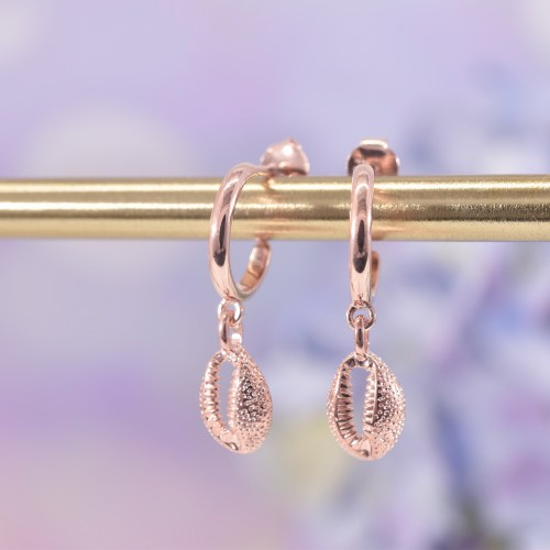 Rose Gold Cowrie Shell Huggie Hoop Earrings