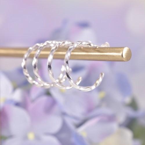 Handmade Sterling Silver Ribbon Twist Huggie Hoops