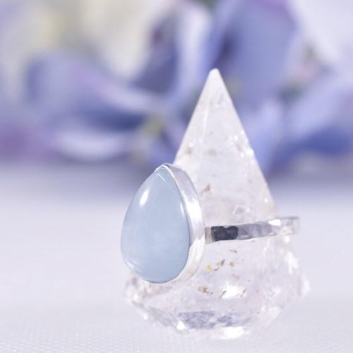 Handmade Sterling Silver Hammered Aquamarine Ring