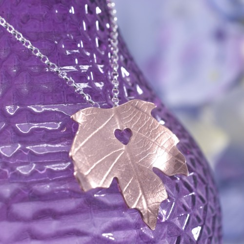 Handmade Copper Maple Leaf Necklace
