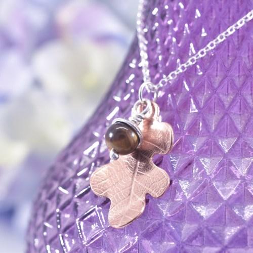Handmade Copper Oak Leaf Acorn Necklace