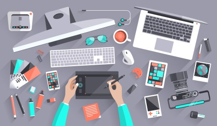 Workplace Of A Designer In Flat Design