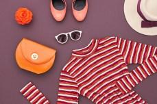 Autumn Fashion woman Clothes Accessories Set. Design fashion. Trendy Dress, Stylish Handbag Clutch, Glamor fashion Heels, Rose. Top view. Fall Fashion. Outfit. Vintage Retro. Elegant Creative Overhead