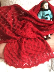 Smocked Lace Scarf in Burgundy Mohair