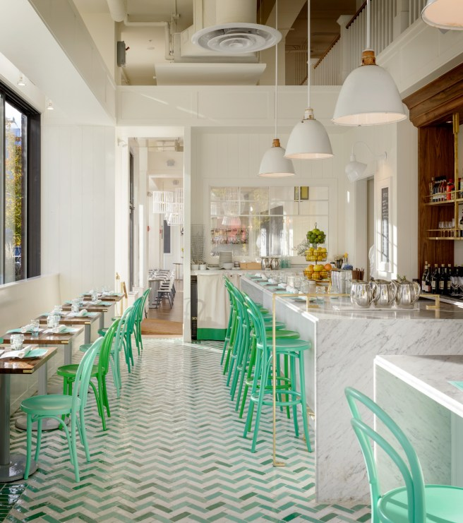 Mint and Kelly Green Chairs in Restarts on Herringbone Floor