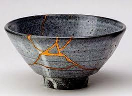 zen-vita charming wabi sabi  bowl with gold leaf repair