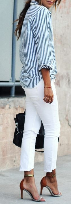 via pinterest white jeans with blue white stripe shirt