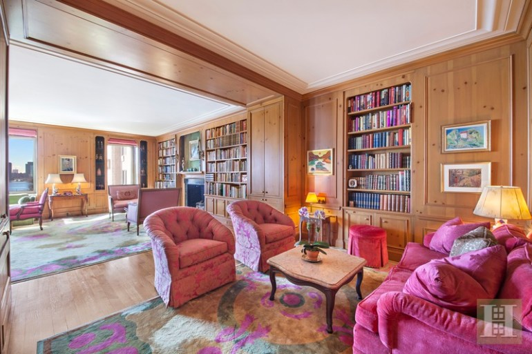 Gretta Garbo NY Apartment, Wood Paneling, Hot Pink Furniture, Bright Decor from the 1960's