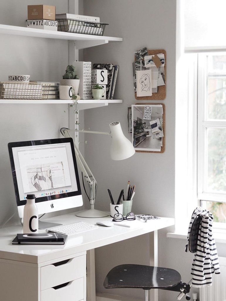 White Simple Desk with File, Adjustable White Wall Shelves Over Desk, Swivel Black Desk Chair, Desk Task Lamp, Bulletin Boards, Pencil Cups