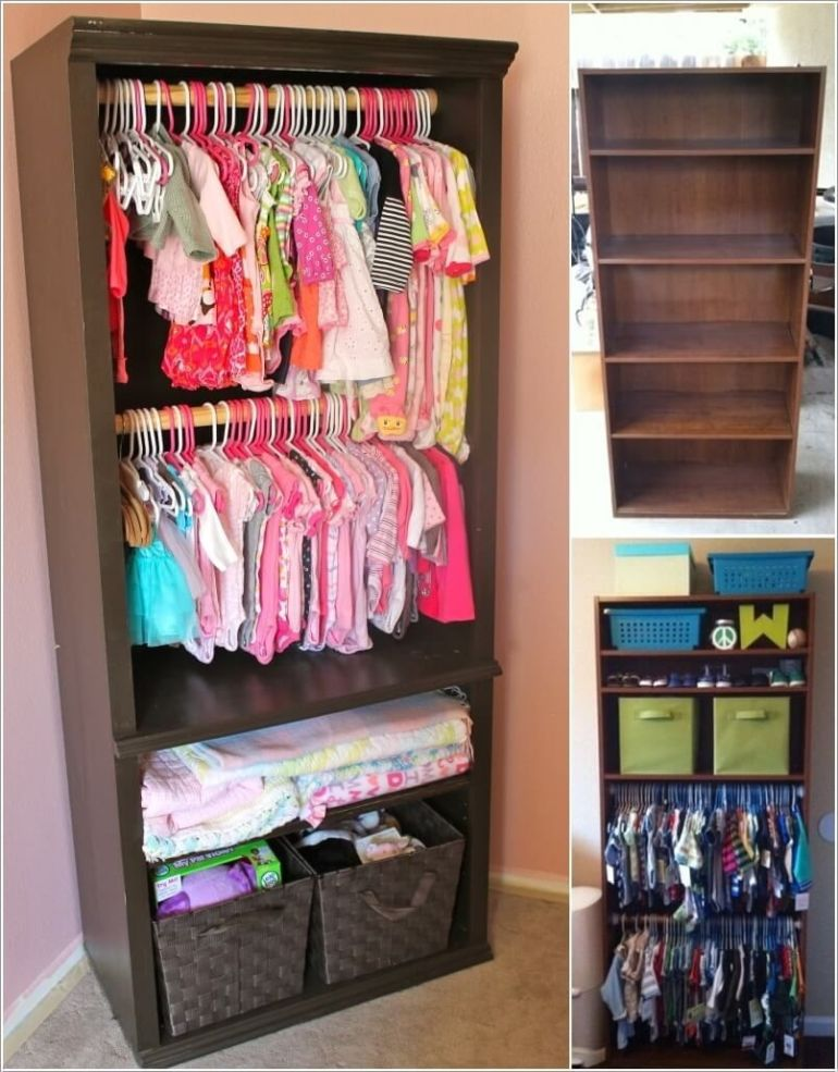 Bookcases with Hanging Kids Clothes