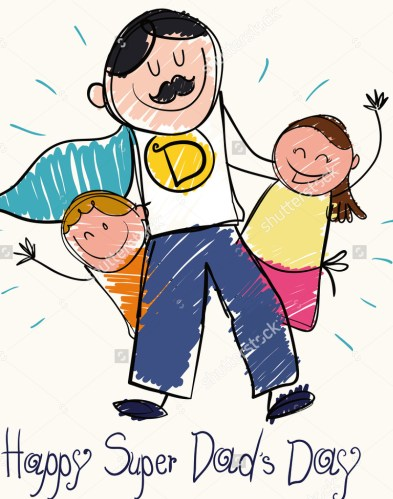 stock-vector-children-draw-for-father-s-day-with-a-super-dad-with-moustache-and-cape-with-son-and-daughter-in-437882776