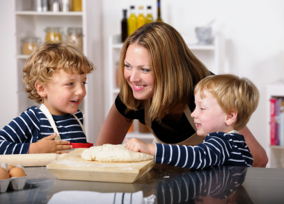 Mom and Kids with Pizza Crust