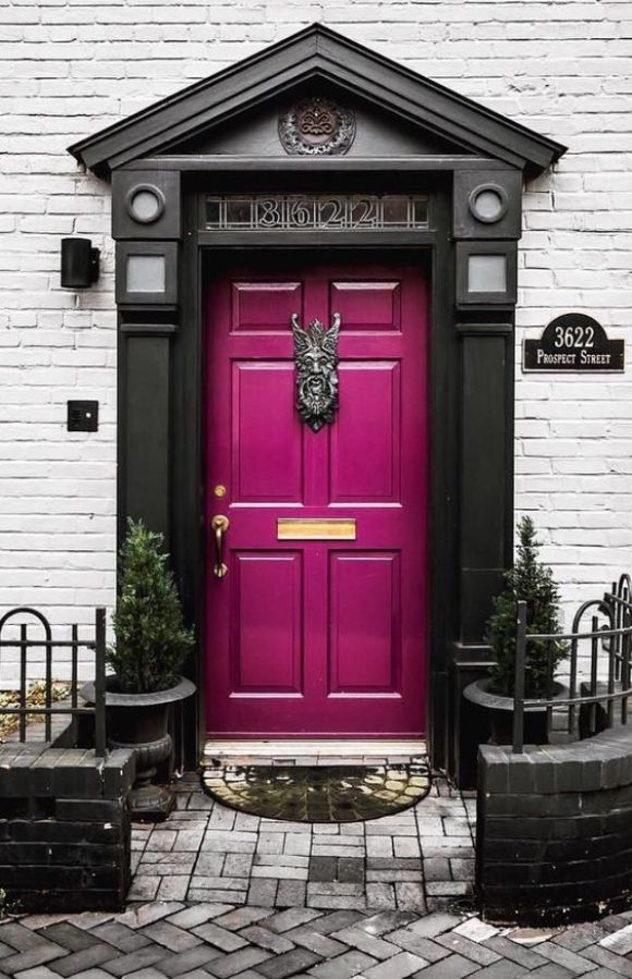 Charcoal and Fuchsia Door