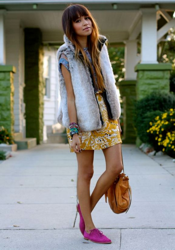 Girl with Gold Skirt and Fuchsia Shoes