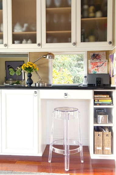 pinterest Desk Nook with Window In Splash with black marble top and ghost stool