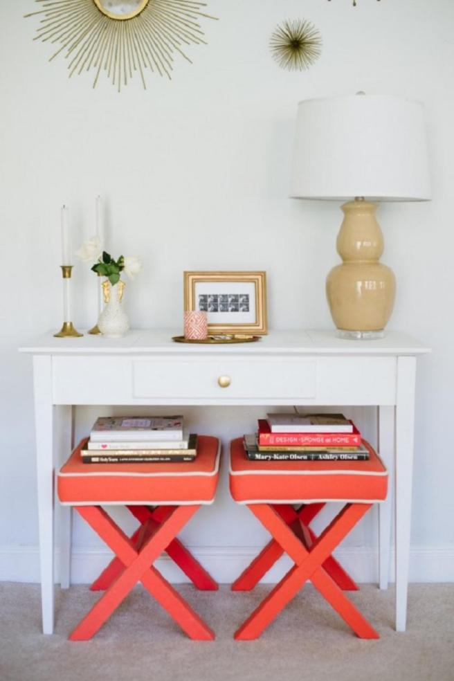 pinterest bright orange stools with white console desk