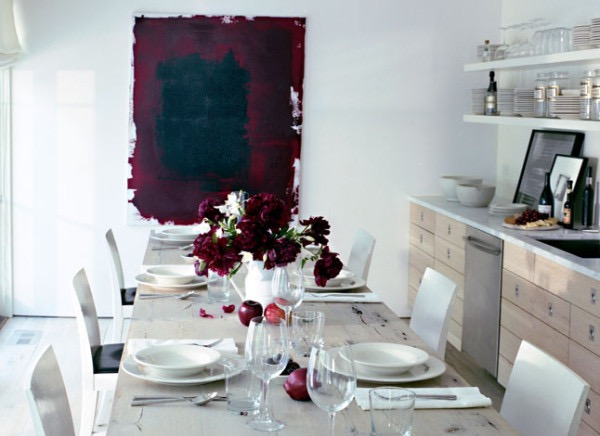 Large Deep Magenta Artwork in Kitchen