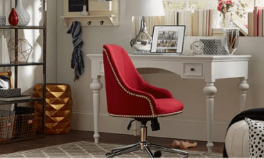 Joss & Main White Desk with Red Chair