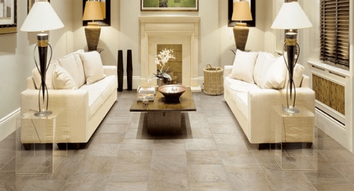 Mannington Floor Tile with Dual Ivory Sofa's