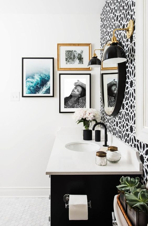 Black Vanity, White Quartz Counter Top, Black Matte Faucets, Brass Lighting
