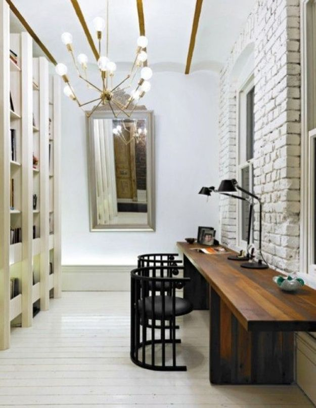 Pinterest Brick Wall, Wooden Desk for Two, Statement Lighting and Built In Creamy Bookcases
